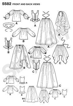 Womens Renaissance Dress Costume Sewing Pattern 5582 Simplicity