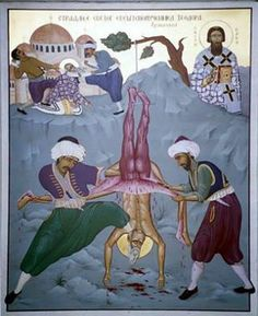 Icon of Serbian Bishop Teodor being skinned alive by Turkish Muslims.