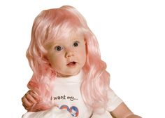 Pink baby wig. Scary Clown Costume, Newborn Halloween Costumes, Scary Clowns, Baby Costumes, Baby Girl Hats, Girl With Hat, Funny Wigs, Baby Barbie, Barbie Doll
