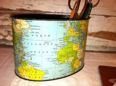 Vintage Desk Pencil Holder Caddy with World Map by TotallyVintage, $12.75