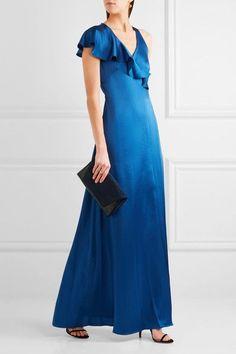 Diane von Furstenberg - Ruffled Satin Wrap Maxi Dress - Royal blue - US12
