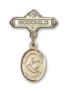 ReligiousObsession's 14K Gold Baby Badge with St. Thomas Aquinas Charm and Godchild Badge Pin *** Continue to the product at the image link. (This is an Amazon Affiliate link and I receive a commission for the sales)