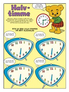 Klockan – Bamse.se Educational Activities For Kids, Teaching Materials, Kids Education, Math Lessons, Teaching Math, Cool Kids, Kindergarten, Homeschool, Teacher