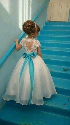 Resultado de imagen para vestido infantil de tule com renda de flores