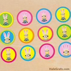 easter minion cupcake topper FREE Printable Easter Bunny Minion Cupcake Toppers