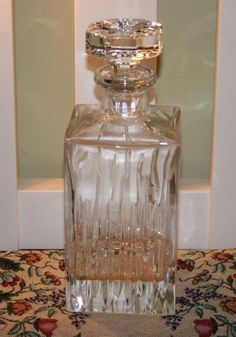 ROGASKA CRYSTAL SQUARE DECANTER WITH ORNATE STOPPER