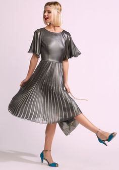Adrianna Papell Metallic Pleated Dress in 14, #ModCloth