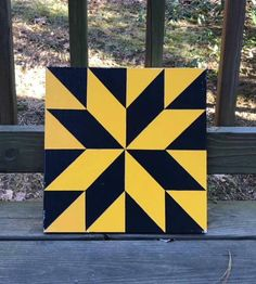 Items similar to Hand painted rustic barn quilt. black and gold Lemoyne star on Etsy Barn Quilt Designs, Barn Quilt Patterns, Quilting Designs, Rustic Barn, Barn Wood, Pallet Wood, Half Square Triangle Quilts, Square Quilt, Barn Quilts For Sale