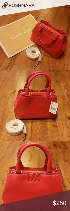 NWT Michael Kors Florence Leather Satchel Brand new leather small satchel in Watermelon 2 magnetic closure compartments, 1 zipper compartment Can be worn with strap or without Beautiful color,  extremely cute! Michael Kors Bags Satchels