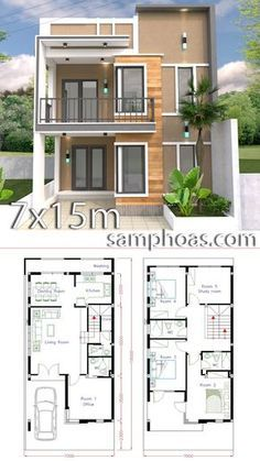 Nice Plan Maison Avec Petite Facade that you must know, You?re in good company if you?re looking for Plan Maison Avec Petite Facade Home Map Design, Duplex House Plans, Bungalow House Design, House Front Design, Bedroom House Plans, Small House Design, Home Design Plans, Modern House Design, Model House Plan