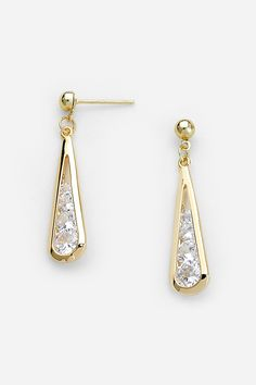 Golden Laurel Earrings Filled with CZ on Emma Stine Limited