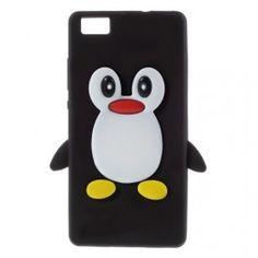 Huawei P8 Lite #musta #pingviini silikonikuori.