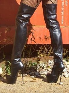 Argent Femmes Cuirs stiletto high heels platform overkneestiefel boots 46 47