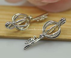 2pcs 11x31mm Rhodium Plated Lovely High by FullLoveAccessories