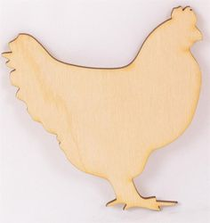 "The unpainted chicken wood cutout is made on-site using high quality plywood and the laser to cut the shape. The chicken wood cutout comes in three different sizes  3.75"""" x 3.75"""" x 1/8 (Package of 1"