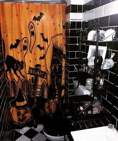 Our Haunted House shower curtains have arrived and they're spooktacular! Casa Halloween, Halloween Home Decor, Halloween Themes, Halloween Decorations, House Decorations, Halloween Night, Halloween 2020, Halloween Stuff, Halloween Costumes