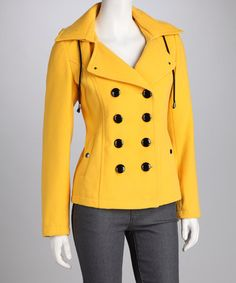 Take a look at this Artifacts Yellow Hooded Peacoat by Kristen Blake & Artifacts on #zulily today!  ME WANTY