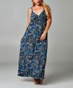 Take a look at this Black & Navy Paisley Empire-Waist Maxi Dress - Plus on zulily today!