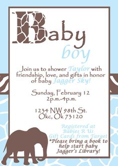 Safari Baby Shower Invitation  Boy Elephant by LillianHopeDesigns, $10.00  LOVE!