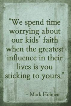 """BINGO. Not to belabor an obvious point, but as parents we therefore cannot only """"fall back on"""" our faith when things are bad, only to shove God aside at our convenience, because that would limit the ability of us and our kids to see God's grace at work in our lives. Paraphrasing Isaiah, if we do not stand firm  in our faith we will not stand at all. When we fall, we have to keep getting up."""