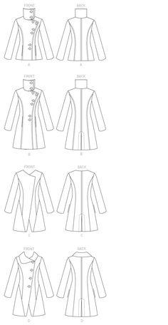"""Butterick B6292 (Mohair, Wool Blends, Tweeds)---A: 45"""": 3 7/8...60"""": 3 1/4...Sew-In Interfacing: 2 1/2...Lining: 1 3/4---B: 45"""": 4 3/4...60"""": 3 3/4...Sew-In Interfacing: 3 1/8...Lining: 2 3/4---Notions: 1/4"""" Shoulder Pads, Eight 1"""" Buttons"""