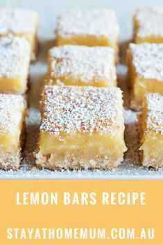 My Nan made these Lemon Bars all the time when I was young. They are so refreshi… My Nan made these Lemon Bars all the time when I was young. They are so refreshing and light. You can also use the same recipe for Orange Bars or Lime Bars! Orange Recipes, Lemon Recipes, Sweet Recipes, Baking Recipes, Dessert Recipes, Kosher Recipes, Baking Pan, Paleo Recipes, Food Cakes