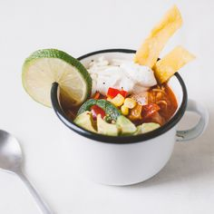This recipe makes the perfect amount of tortilla soup for 1 large dinner or 2 light lunches or appetizers.