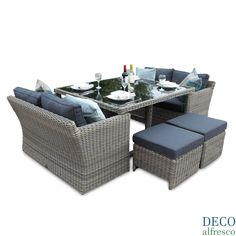 8PC High Back Sofa Cube Rattan Furniture Set - Natural Tri-weave
