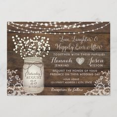 Lace Mason Jars, Mason Jar Cards, Mason Jar Diy, Mason Jar Wedding Invitations, Country Wedding Invitations, Rustic Invitations, Invitation Ideas, Backyard Wedding Invitations, Invitation Cards