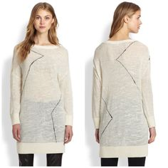 10 Crosby Derek Lam Cream Sweater So cute and perfect paired with leather leggings. Excellent pre worn condition! Cream with subtle black striping. Slice neck detail. No trades!! 04151640gwb 10 Crosby Derek Lam Sweaters