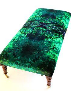 Furniture - Timorous Beasties ~ LARGE GREEN DAMASK UPHOLSTERY STOOL