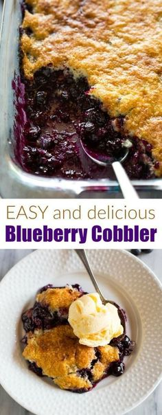 An easy Blueberry Cobbler recipe made with fresh or frozen blueberries and basic pantry ingredients. via easy Blueberry Cobbler recipe made with fresh or frozen blueberries and basic pantry ingredients. Fun Easy Recipes, Easy Desserts, Dinner Recipes, Dessert Recipes, Easy Meals, Jello Desserts, Healthy Recipes, Baking Desserts, Fruit Recipes