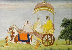 Krishna Travels in Haste on a Chariot, India, Bilaspur,  circa 1810 - 1820