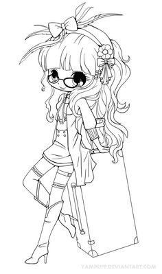 Suitcase Girl Lineart by *YamPuff on deviantART