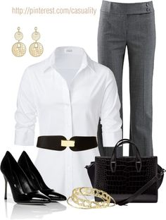 Classic black, grey & white. White top shirt and grey pants. Black purse and shoes. The heels are too pointy at the toe for me and I don't wear gold jewelry so the gold clip on the belt wouldn't work for me. Simple office outfit.