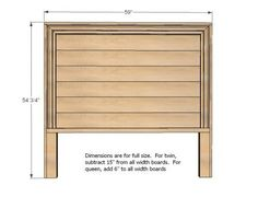 dimensions to use for different size beds and how to build a headboard.