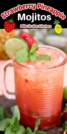 Mix up these strawberry pineapple mojitos for your next get together or celebration. There's lots of strawberry flavor with tangy pineapple and lime to make them a tasty cocktail that everyone is sure to love. Cocktails For Parties, Easy Cocktails, Summer Drinks, Cocktail Recipes, Classic Cocktails, Party Drinks, Easy Mixed Drinks, Pineapple Mojito, Low Carb Grocery