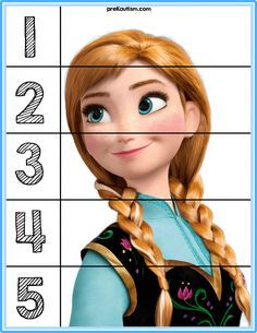 Frozen Puzzles - Autism & Education Puzzles for basic number sense. Frozen Activities, Montessori Activities, Learning Activities, Preschool Activities, Kids Learning, Preschool Printables, Preschool Math, Kindergarten Worksheets, Counting Puzzles
