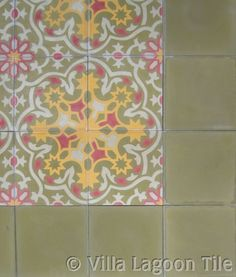 Istanbul cement tile, Turkish patterns and colors in handcrafted encaustic cement tile.