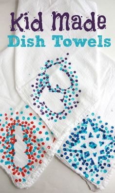 These kid-made dish towels are such a fun and simple way for kids to help make gifts for the special people in their lives!