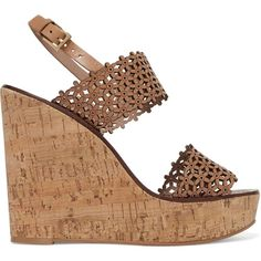 TORY BURCH   Laser-cut leather wedge sandals ($155) ❤ liked on Polyvore featuring shoes, sandals, leather shoes, wedge shoes, leather platform sandals, platform wedge sandals and strappy platform sandals