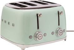 The prettiest SMEG toaster will brighten up any kitchen! 4 Slot Toaster, Smeg Toaster, Retro Toaster, Smeg Fridge, Retro Kitchen Appliances, Cool Kitchen Gadgets, Specialty Appliances, Small Appliances, Cool Kitchens