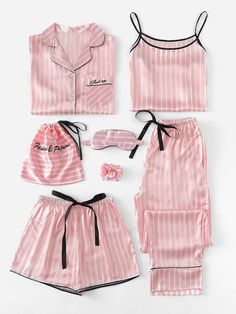 7Pcs Letter Embroidered Striped PJ Set With Shirt