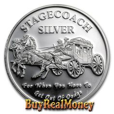 .999 Fine Silver  Rounds One (1) Troy Ounce Stagecoach