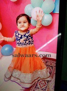 Baby in Orange Blue Long Frock - Indian Dresses