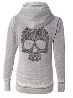 """Women's """"Floral Skull Sketch"""" Zip Up Hoodie by Fifty5 Clothing (Grey)"""