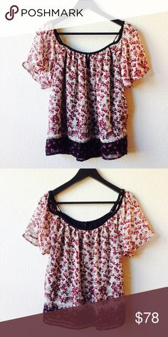"""Harlow & Graham Top Cute floral top by Harlowe & Graham!  Scoop neck, cold shoulder cutouts.  Adjustable straps.  Lined.  ~25"""" length. Harlowe & Graham Tops"""