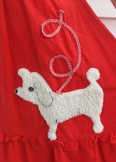 Vintage 1950s Red POODLE Skirt