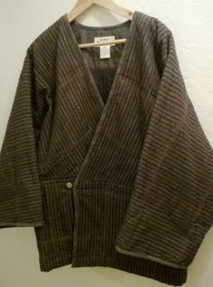 Vtg Vintage Brown Black Pattern Issey Miyake Plantation Coat Japan Men's