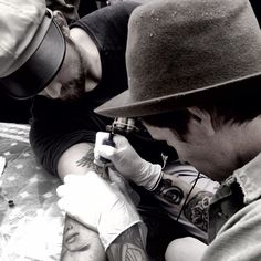 Initiation ..tattoo by @ marlonbrando , ink to @ brianbowensmith ,drawing before the ink @ tasyavanree #birthdaypartyday7 #greatday #friends Photo by christianmarc